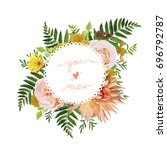 flower airy wreath bouquet of... | Shutterstock .eps vector #696792787