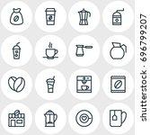 vector illustration of 16 drink ... | Shutterstock .eps vector #696799207