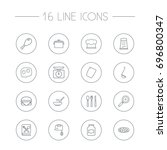 set of 16 cooking outline icons ... | Shutterstock .eps vector #696800347
