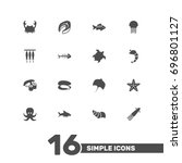 set of 16 seafood icons set... | Shutterstock .eps vector #696801127