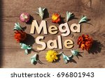 mega sale lettering.wood... | Shutterstock . vector #696801943