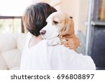 close up portrait of sad beagle ... | Shutterstock . vector #696808897