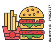 fast food  burger and french... | Shutterstock .eps vector #696829357