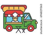 fast food truck  street food ... | Shutterstock .eps vector #696829363