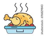 roasted chicken  fried hen ... | Shutterstock .eps vector #696829843