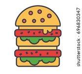 fast food burger or hamburger... | Shutterstock .eps vector #696830347