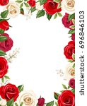 Stock vector vector frame background with red and white roses 696846103
