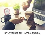 ensuring that your business is... | Shutterstock . vector #696850567