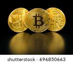 golden bitcoin on black... | Shutterstock . vector #696850663