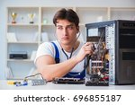 computer repairman repairing... | Shutterstock . vector #696855187