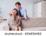 romantic concept with man... | Shutterstock . vector #696856483