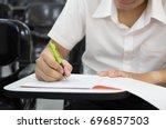 soft focus.university or high... | Shutterstock . vector #696857503