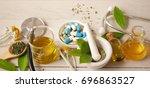 alternative medicine herbal... | Shutterstock . vector #696863527