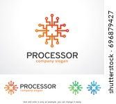 processor logo template design... | Shutterstock .eps vector #696879427