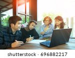 team of man and woman freelance ... | Shutterstock . vector #696882217