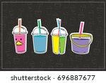 smoothie fresh fruit in plastic ...   Shutterstock .eps vector #696887677