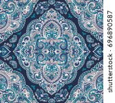 beautiful indian floral paisley ...   Shutterstock .eps vector #696890587
