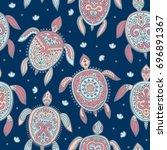 tribal turtle pattern   Shutterstock .eps vector #696891367