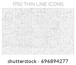Exclusive icon set. 1750 thin line signs of food, medical, business, travel. Collection of high quality symbols for web design, mobile app, infographic. Pack of minimalistic logo on white background.  | Shutterstock vector #696894277