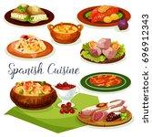 spanish cuisine dinner menu... | Shutterstock .eps vector #696912343