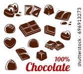 chocolate bar and candy icon... | Shutterstock .eps vector #696913273