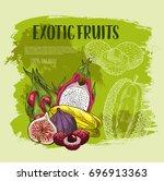exotic fruit grunge poster....   Shutterstock .eps vector #696913363