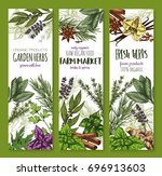 herbs and spices banners set.... | Shutterstock .eps vector #696913603