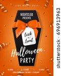 halloween party vector poster...   Shutterstock .eps vector #696913963
