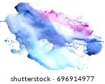 watercolor blue violet stain on ... | Shutterstock . vector #696914977