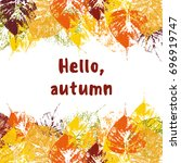 autumnal banner with colorful... | Shutterstock .eps vector #696919747