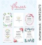 wedding invitation card... | Shutterstock .eps vector #696921673