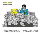 very tired and exhausted... | Shutterstock .eps vector #696931093