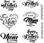 vector set of happy mother's... | Shutterstock .eps vector #696945637