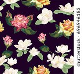 roses and magnolias floral... | Shutterstock .eps vector #696946183