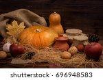 Autumn Dark Background With...