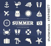 summer vacation icons set  ... | Shutterstock .eps vector #696948877