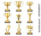 realistic golden trophy cups... | Shutterstock .eps vector #696948907
