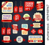 holiday sale ribbon banners and ... | Shutterstock .eps vector #696948967