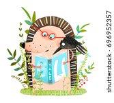 hedgehog and crow friends... | Shutterstock .eps vector #696952357