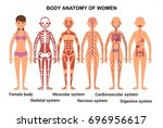 anatomy of the female body.... | Shutterstock .eps vector #696956617