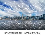 communication network of scene... | Shutterstock . vector #696959767