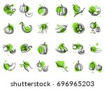 vegetable vector set. hand... | Shutterstock .eps vector #696965203