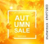 autumn sale banner  beautiful... | Shutterstock .eps vector #696971803