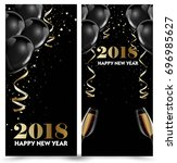 happy new year 2018 greeting... | Shutterstock .eps vector #696985627
