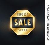 biggest sale offer golden label ... | Shutterstock .eps vector #696994477