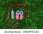 flatlay with pair of pink girl... | Shutterstock . vector #696995143