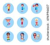 schoolchildren with accessories ... | Shutterstock .eps vector #696996607