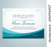 clean blue certificate design... | Shutterstock .eps vector #696996907