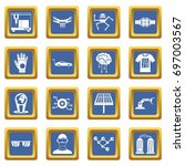 new technologies icons set in... | Shutterstock .eps vector #697003567
