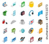 binary code icons set.... | Shutterstock .eps vector #697011073